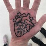 Anatomical heart tattoo on a palm by Luke.A.Ashley