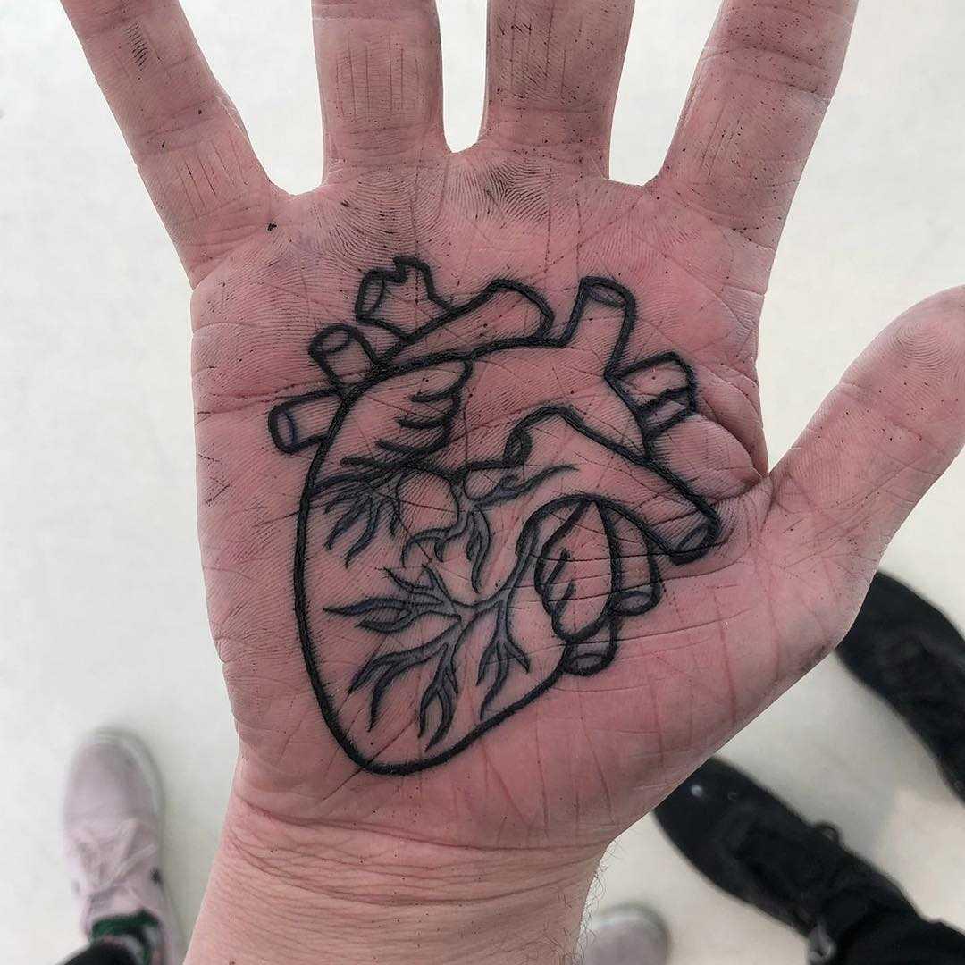 Anatomical heart tattoo on a palm by Luke.A.Ashley