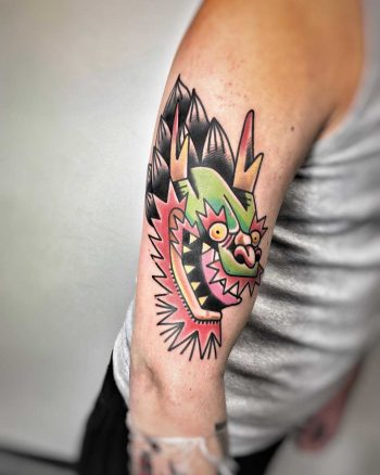 Asian style dragon tattoo by Mike Nofuck