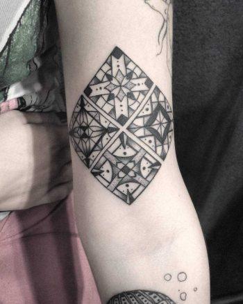 Azulejo tilework pattern tattoo by Meritattoon