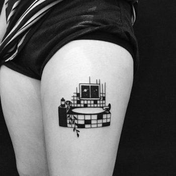 Bathroom tattoo by Chinatown Stropky