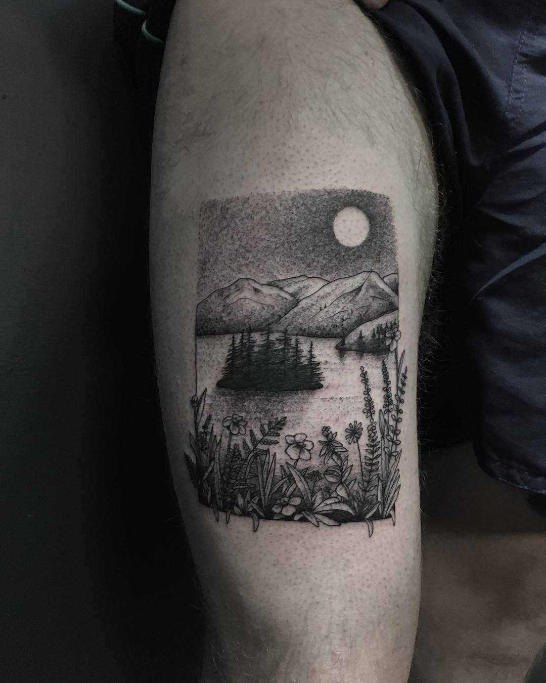 Beautiful fjord scenery by tattooist Spence @zz tattoo