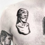 Blindfolded bust tattoo by Pulled Poltergeist