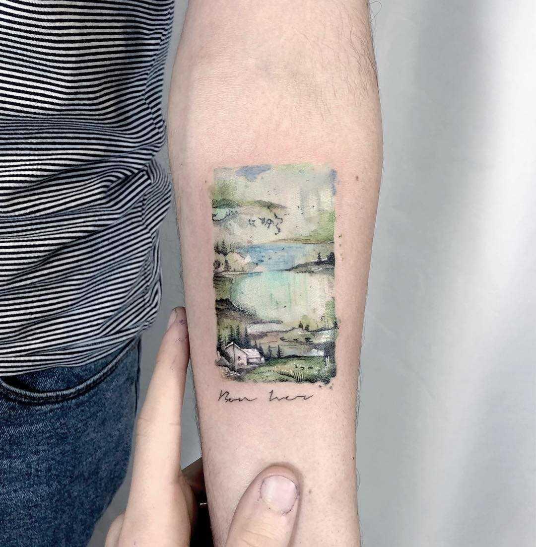Bon Iver album cover tattoo by Eden Kozo