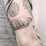 Bottle ship tattoo by Annelie Fransson