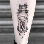 Bottled bones tattoo by Lozzy Bones