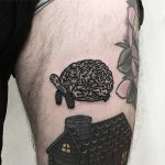 Brain tortoise tattoo by Deborah Pow