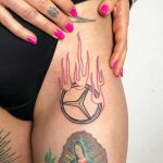 Burning Mercedes-Benz sign by Hand Job Tattoo