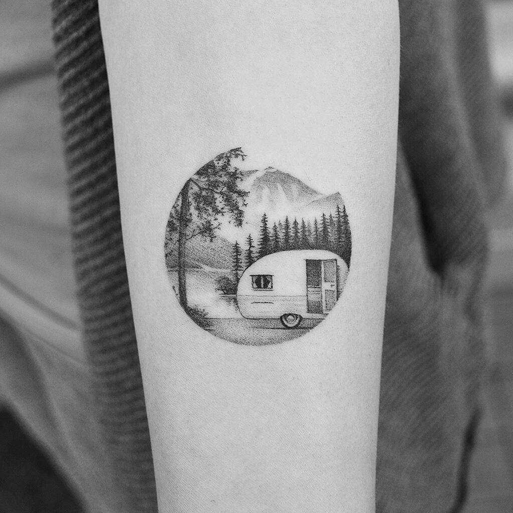 Camping tattoo by Amanda Piejak