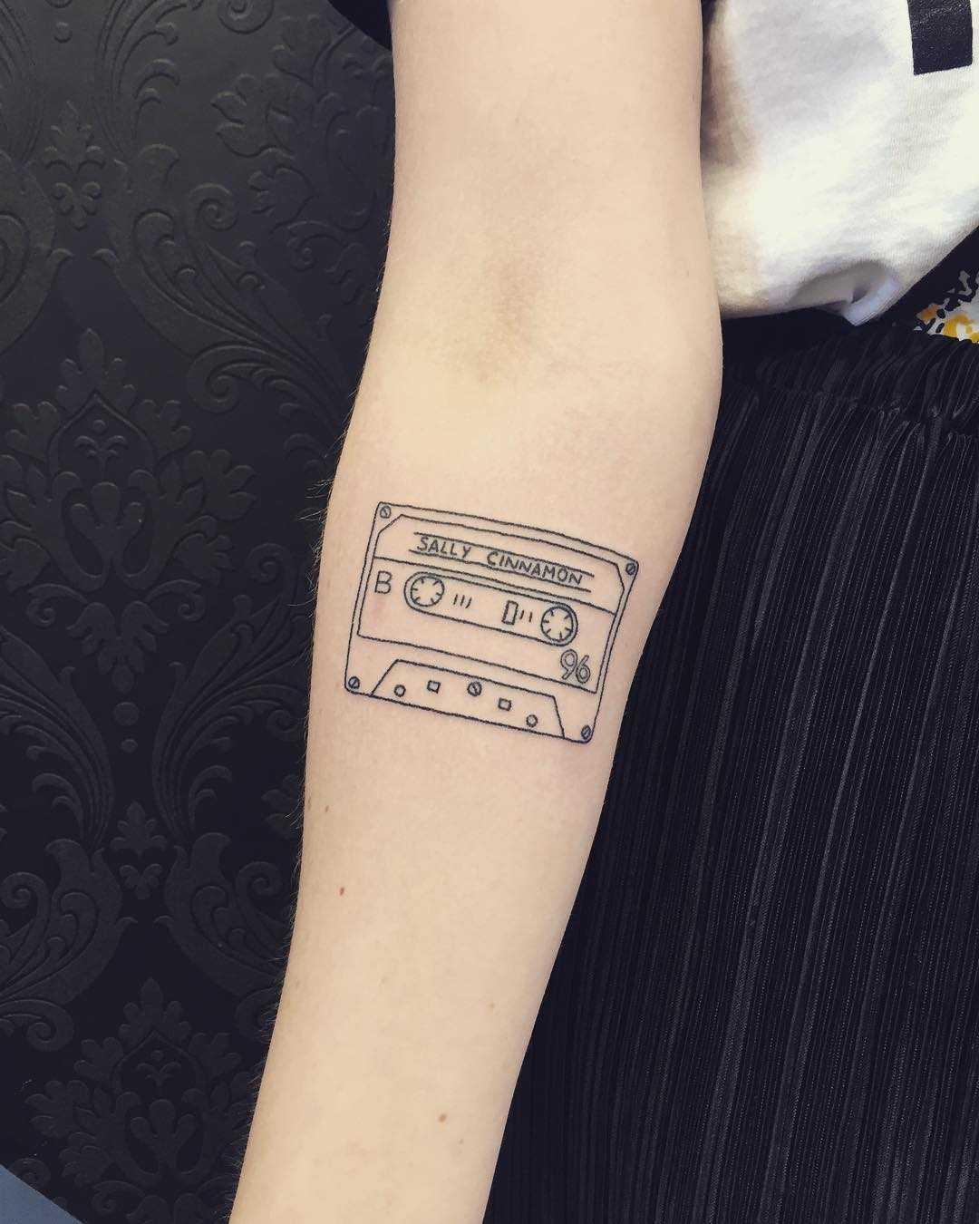 Cassette tape tattoo by Kirk Budden