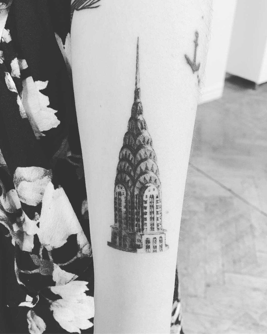 Chrysler building tattoo by Annelie Fransson