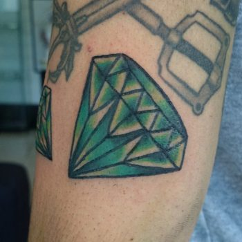 Classy green diamond tattoo by Luke.A.Ashley