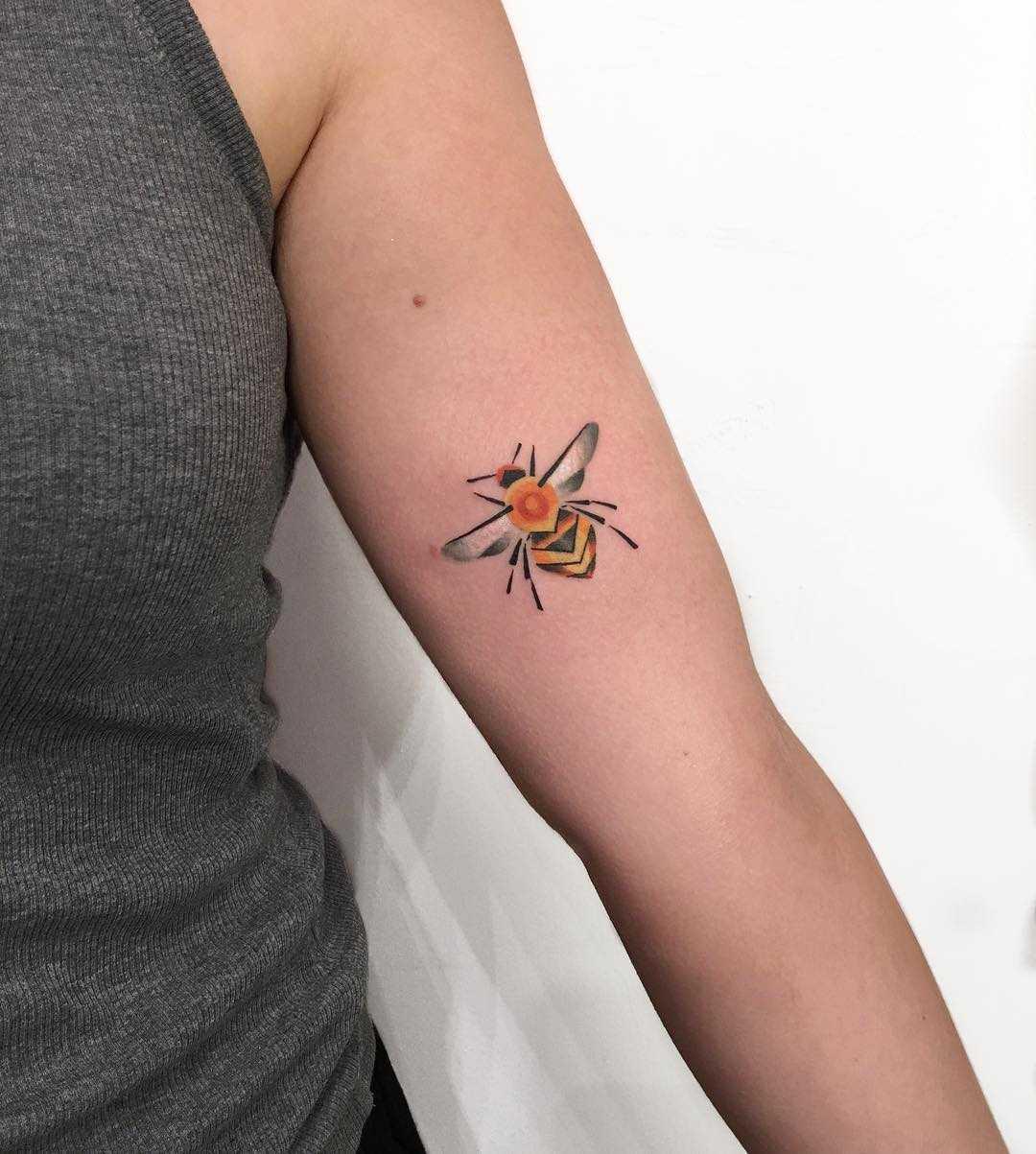Cute bee tattoo by Mavka Leesova
