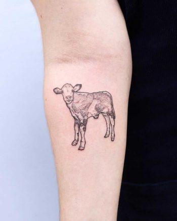 Cute calf tattoo by Zaya Hastra