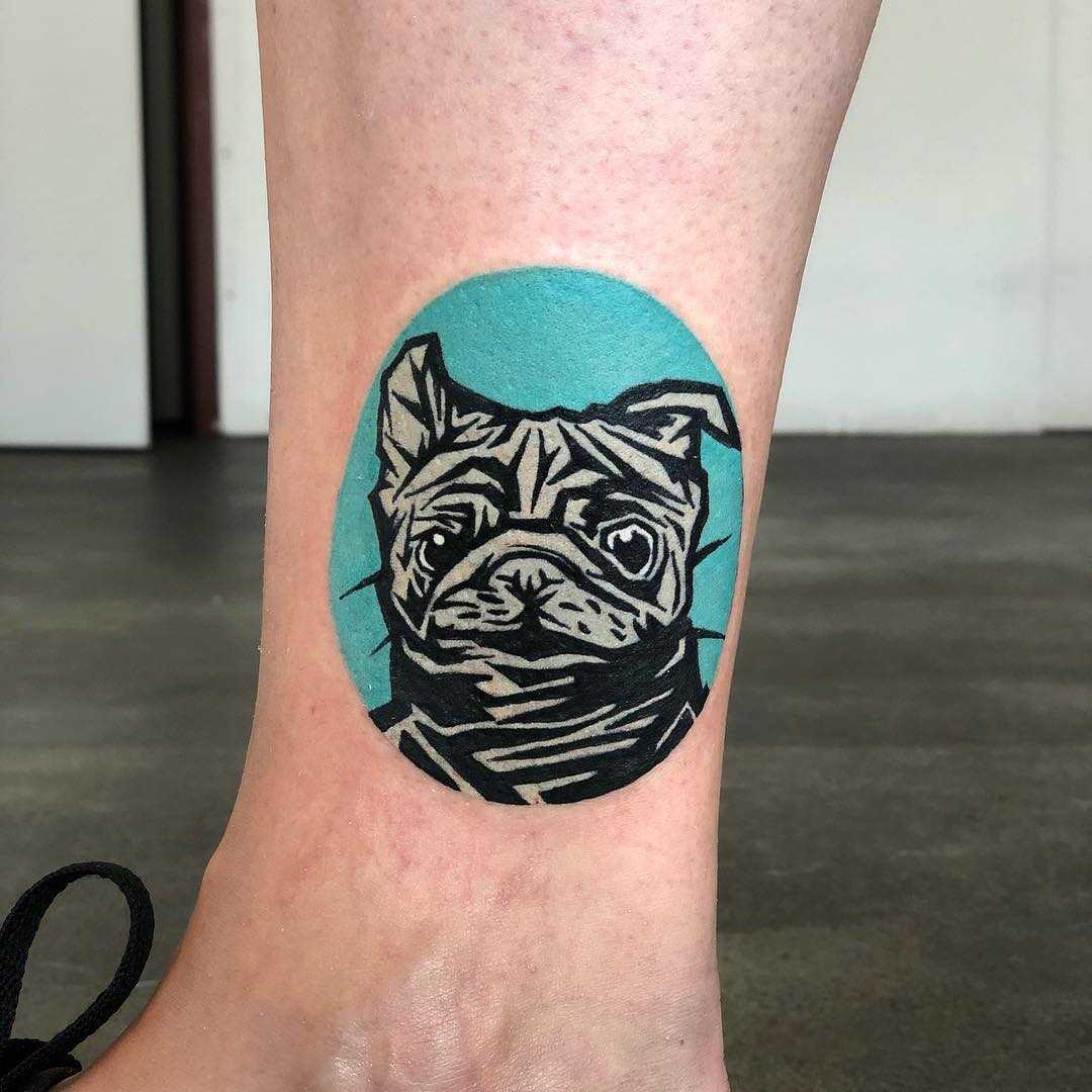 Cute pug tattoo by Eugene Dusty Past
