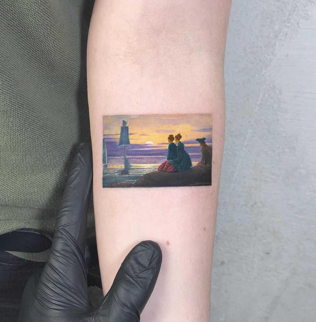 David Friedrich's Moonrise Over The Sea tattoo by Eden Kozo