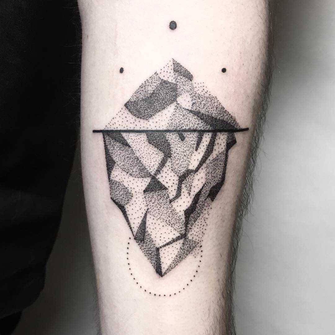 Dot-work iceberg tattoo by Julim Rosa