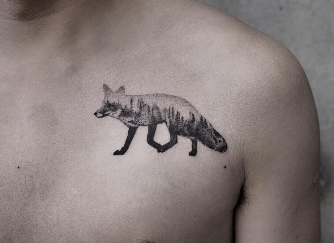 Double exposure fox tattoo by Aki Wong