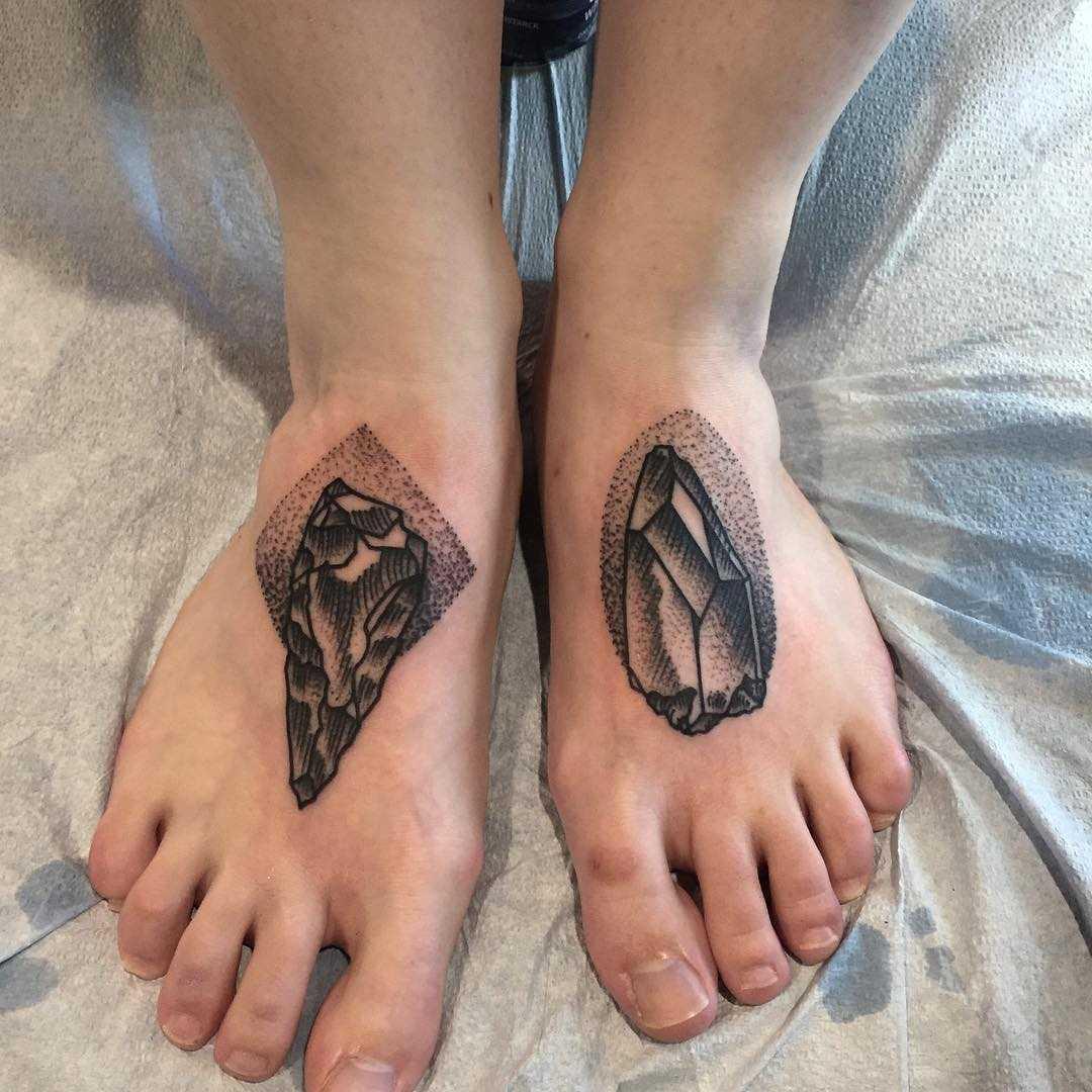 Gem stone tattoos on both feet by Tine DeFiore