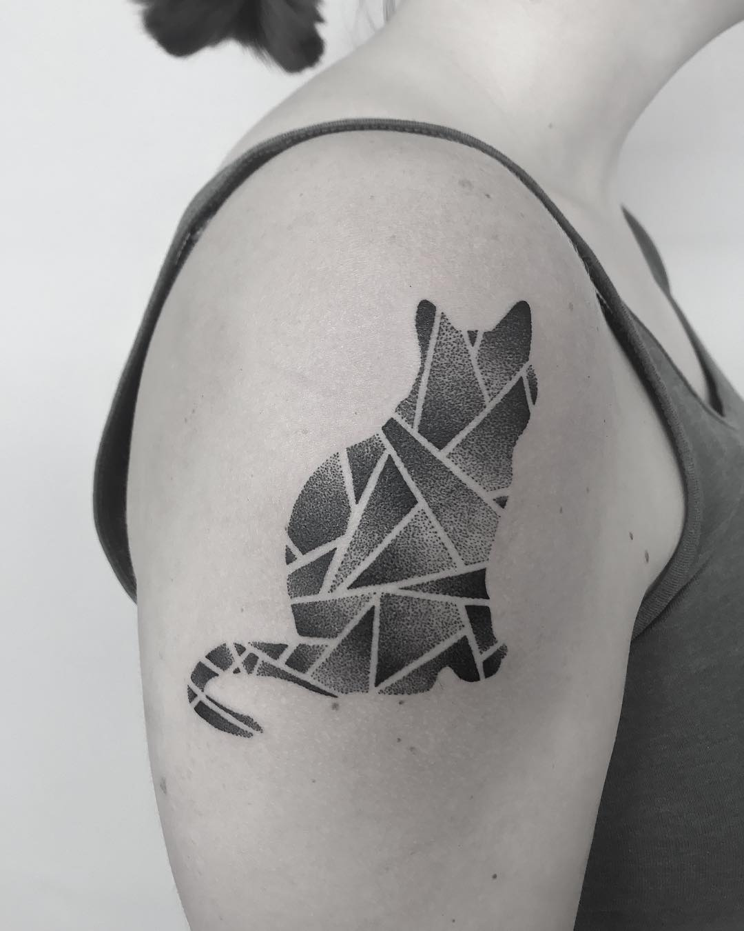 Geometric cat tattoo by Oliver Whiting