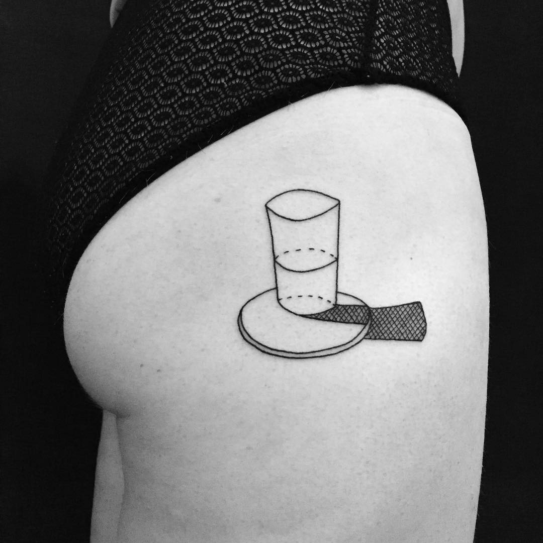 Glass on a plate tattoo by Chinatown Stropky