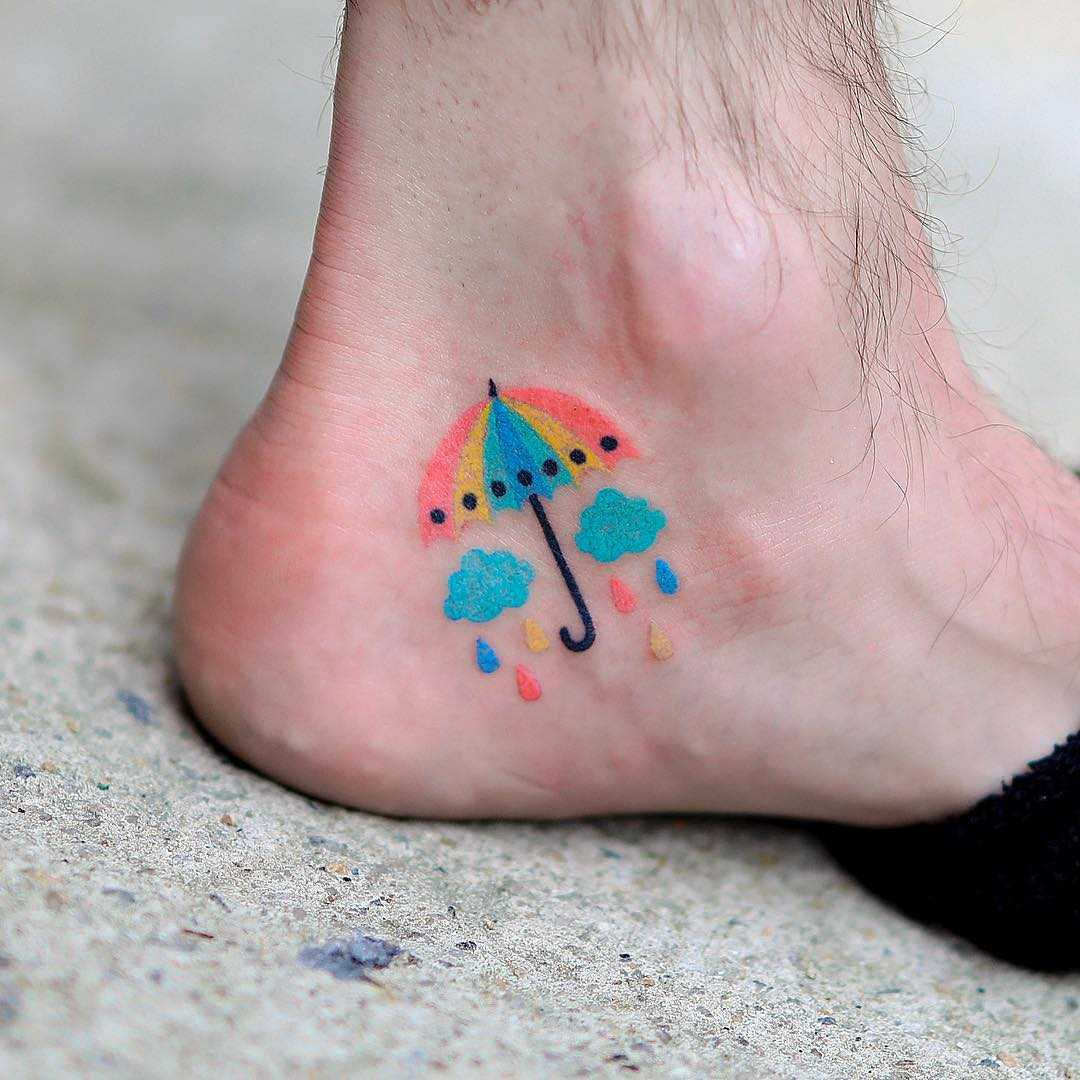Hand-poked colorful umbrella by zzizziboy