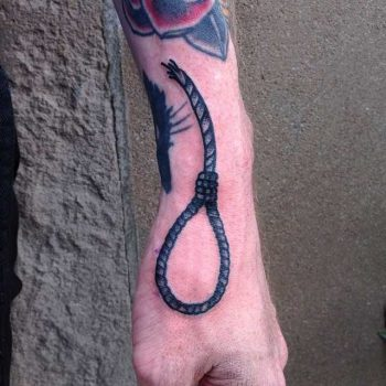 Hangman's knot tattoo by Tine DeFiore