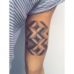 Herringbone floor tattoo by tattooist Zaya Hastra