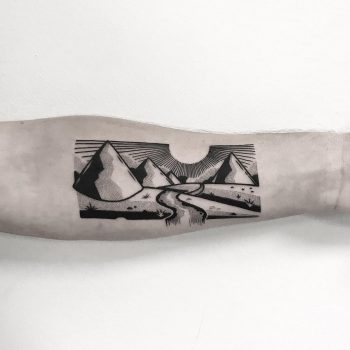 Horizontal landscape tattoo by Pulled Poltergeist