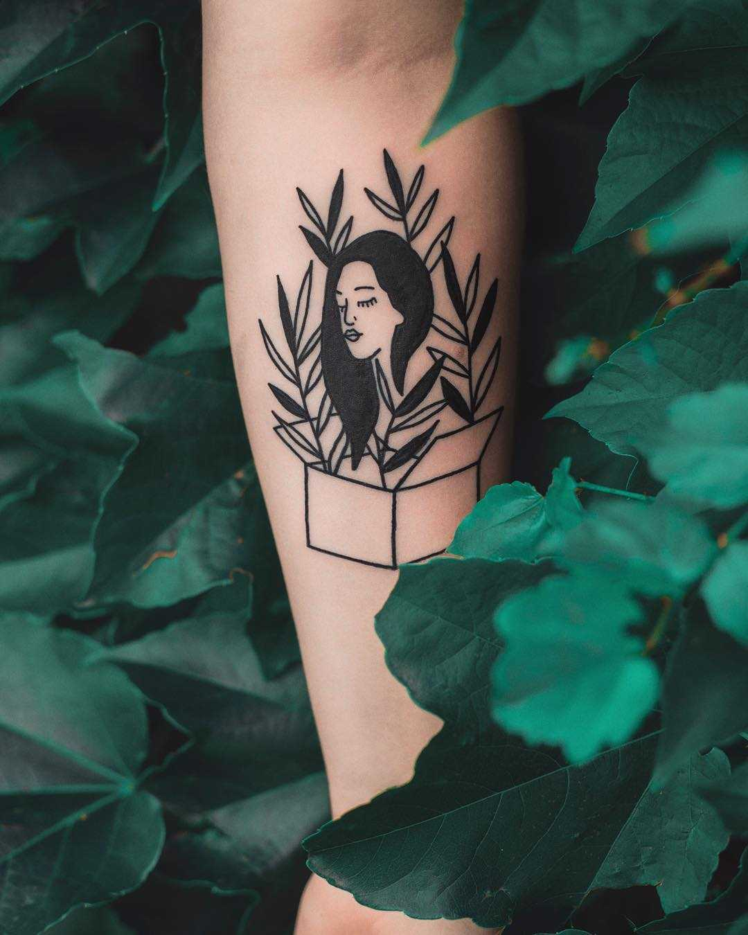 Lady in a box tattoo by Dżudi Bazgrole