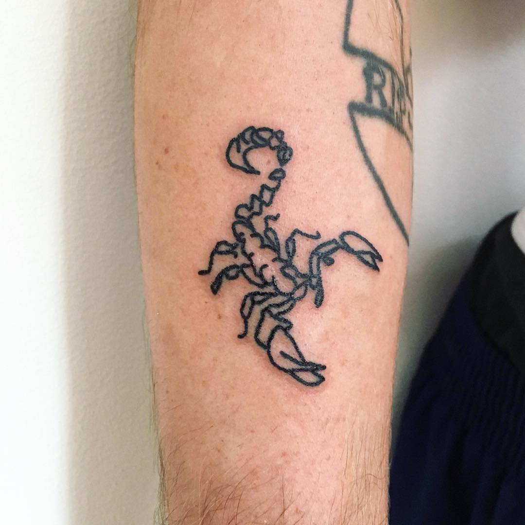 Little scorpion tattoo by Suki Lune