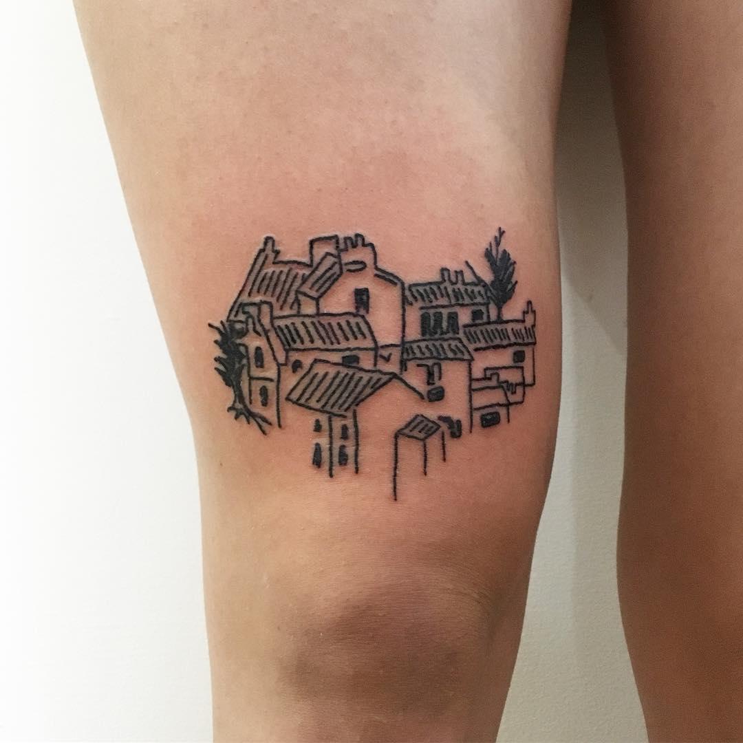 Little village tattoo by Suki Lune