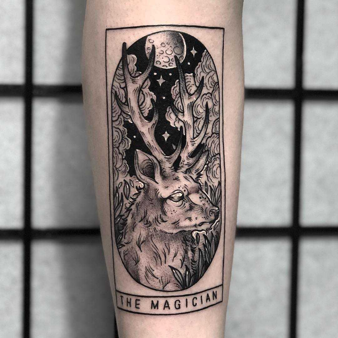 Magician tarot card tattoo by Lozzy Bones