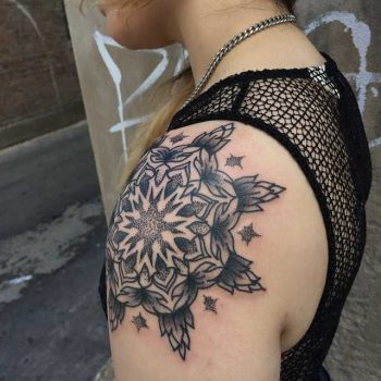Mandala tattoo on the left shoulder by Tine DeFiore