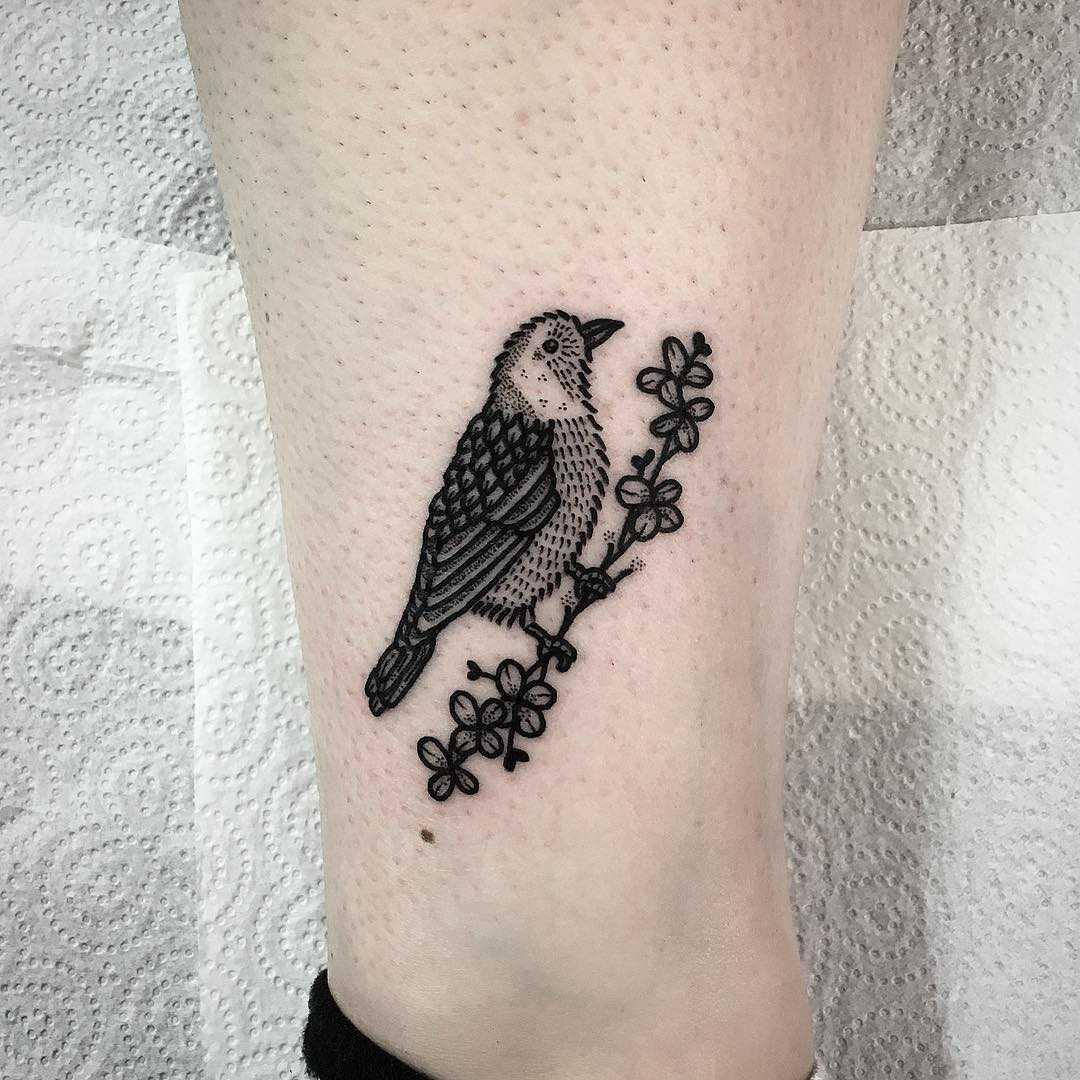 Matching goldfinch tattoo by Deborah Pow