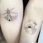 Matching minimalist paradise tattoos by Julim Rosa