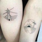 Matching minimalist paradise tattoos by Julim Rosa