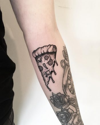 Melting pizza by tattooist Spence @zz tattoo 4