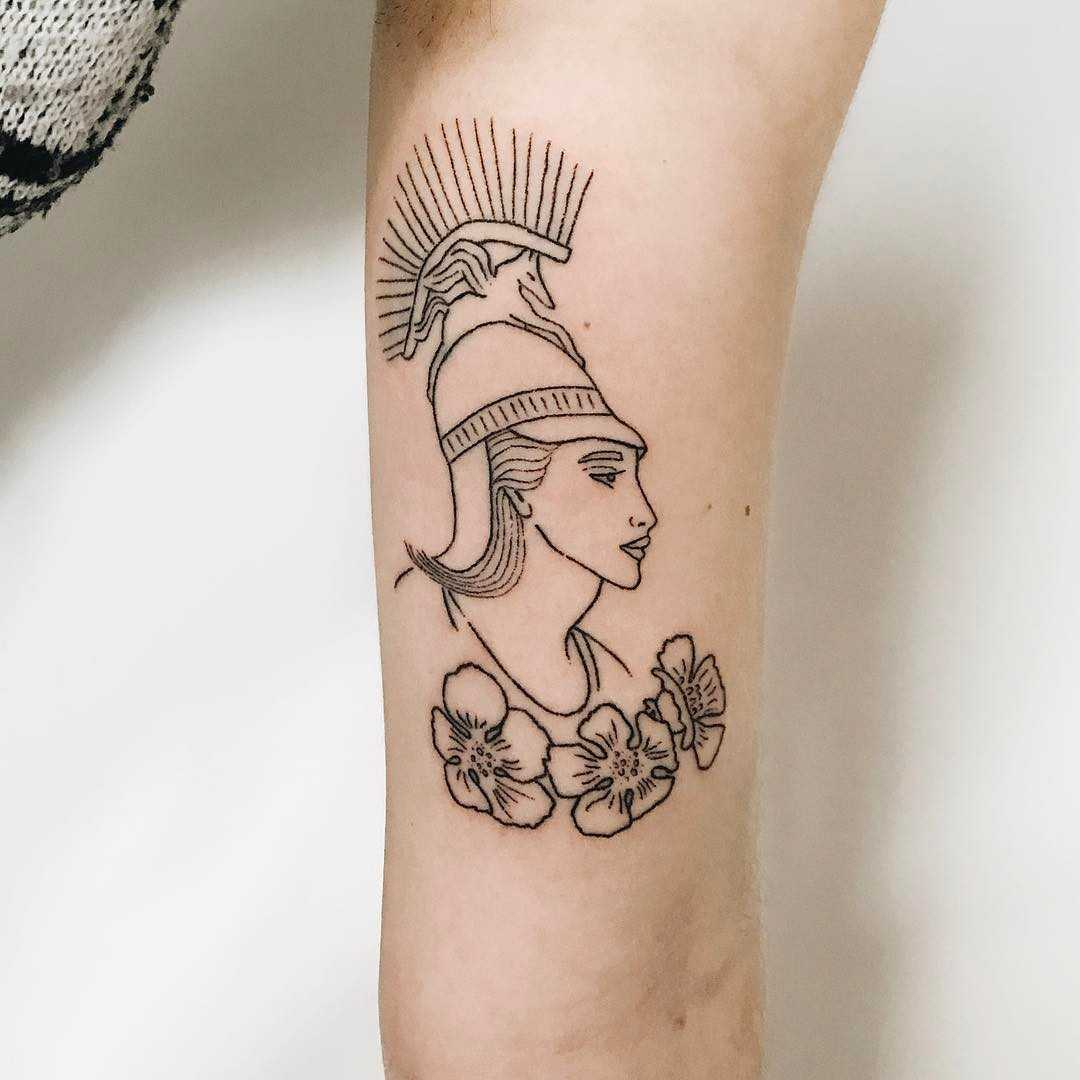 Minerva and california poppies tattoo by Kelli Kikcio