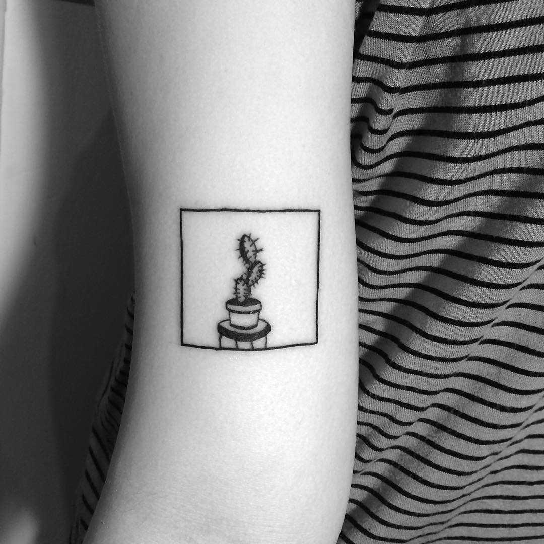 Minimalist cactus tattoo by Chinatown Stropky