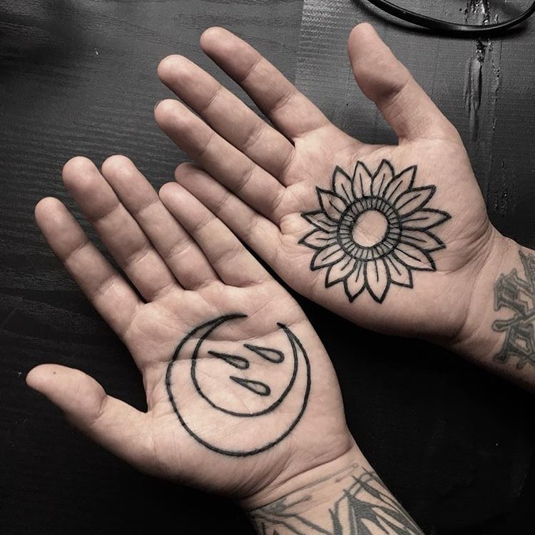 Moon and flower tattoos by Luke.A.Ashley