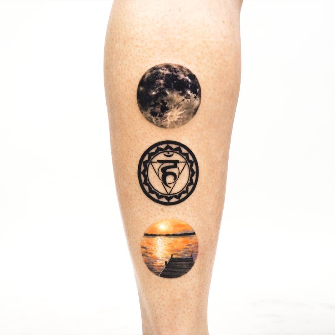 Moon, chakra, and home tattoos by anton1otattoo