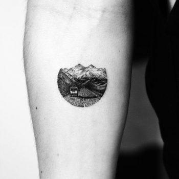 Mountains landscape tattoo by Amanda Piejak