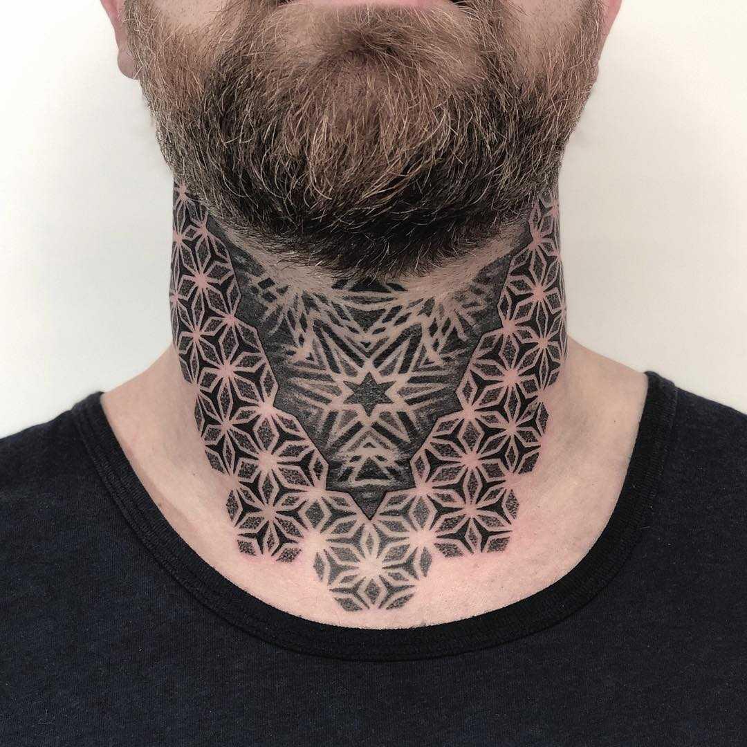 Neck mandala tattoo by Tamara Lee