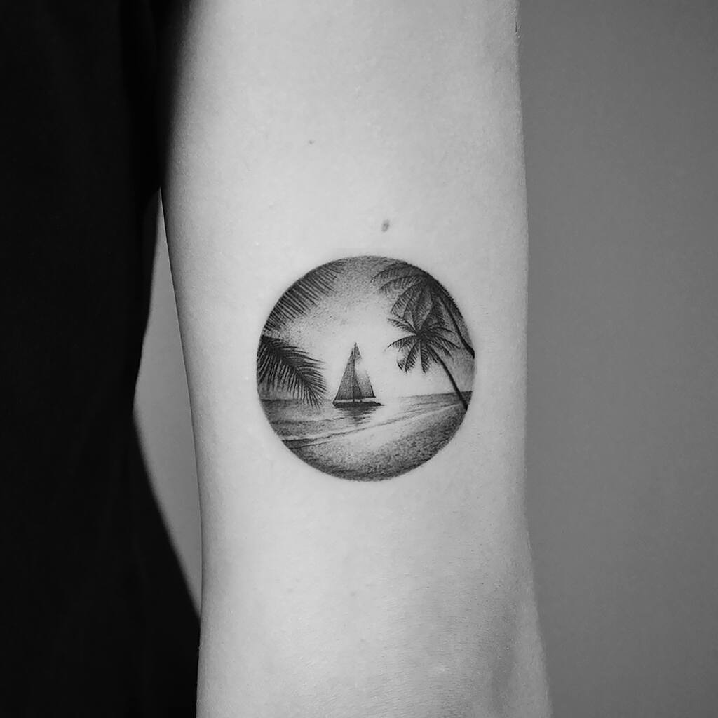 Palms and beach tattoo by Amanda Piejak