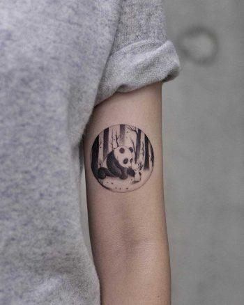 Panda tattoo by Aki Wong