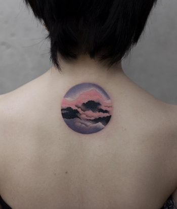 Pink clouds tattoo by Aki Wong