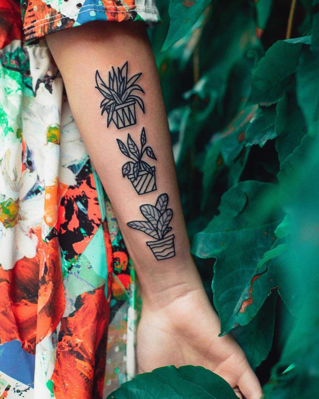 Plant collection tattoo by Dżudi Bazgrole