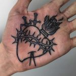 Sacred heart tattoo on a palm by Luke.A.Ashley