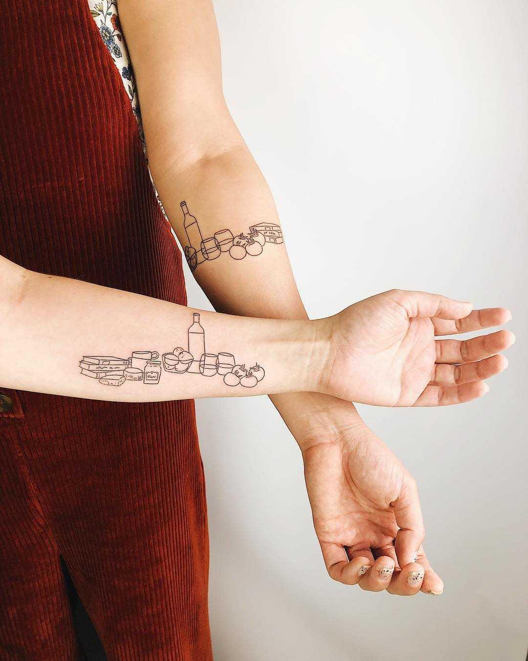 Same but different tattoo for friends by Kelli Kikcio